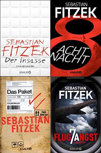Vier Bestseller von Sebastian Fitzek im Set (Insasse / AchtNacht / Paket / Flugangst 7A) + 1 exklusives Postkartenset