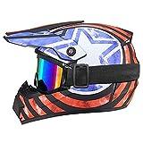 Casco de moto con bandera americana, casco de motocross infantil – ECE 22.05 – Casco de moto Cross Set BMX Quad Enduro ATV Scooter con Goggle/guantes (mate, XS)