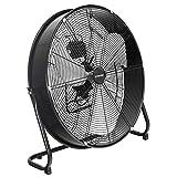 TROTEC Ventilador de Suelo TVM 24 D, 124 W, 3 Velocidades de Ventilación, Inclinación Regulable hasta 135°, Silencioso, Pie de Apoyo Estable y Antideslizante, Negro
