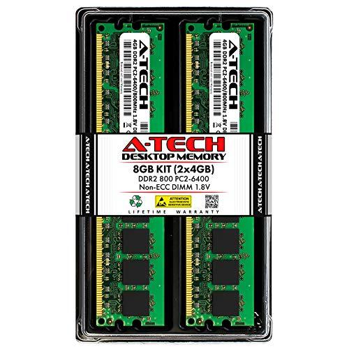 A-Tech 8GB (2x4GB) DDR2 800MHz DIMM PC2-6400 1.8V CL6 240-Pin Non-ECC UDIMM Desktop RAM Memory Upgrade Kit