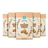 Marca Amazon - Happy Belly - Galletas de avena para el desayuno, 5x300g