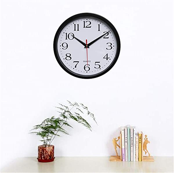 Ennglun Classic Black Wall Clock Silent Non Ticking Battery Operated Round Easy To Read Round Home Decoratio Office Classroom School Clock