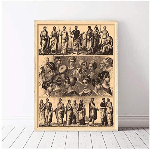 ASLKUYT Brockhaus und Efron Enzyklopädisches Wörterbuch Diagramm Kunst Leinwand Poster Drucke Home Wanddekor Malerei -20x28 IN No Frame