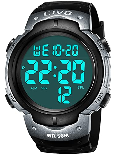 CIVO Reloj Hombre Relojes Militares Digitale Deportivo Informal para Hombr Multifuncional 50M Resistente al Agua Diseñ LCD Back Light Relojes de Pulsera Electrónica Negro Gris