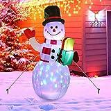 JIESD-Z Muñeco de nieve inflable de Navidad, muñeco de nieve iluminado, juguete inflable con sombrer...