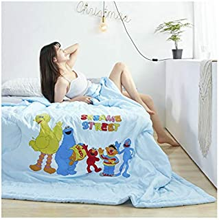 KFZ Quilt Comforter Cotton Bedspread Bed Cover for Bedding Set Quilted Quilt KSN1905 Twin Full Queen Leopard Tree Sesame Street Design for Adults Kids Teens1pc (Sesame Street Blue, Full 70