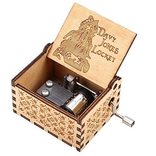 Akozon Carillon Legno a Manovella Meccanico Classico Regalo di Compleanno Artigianale Cofanetto Carillon Personalizable Music Box(Pirata)