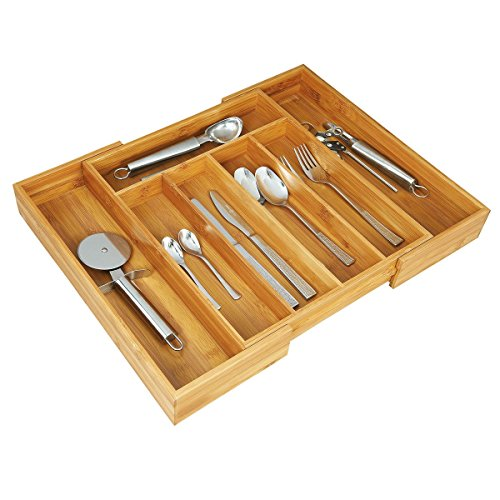 axentia Caja de Cubiertos de Bambú, Bandeja Extensible para Cubiertos con 5 a 7 Compartimentos, Cubertero aprox. 31 - 48,5 x 5,5 x 37 cm, Color madera, 116668