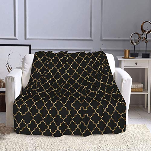 KCOUU Manta de forro polar de 50 × 60 pulgadas, elegante, color negro y dorado, acogedora manta decorativa para sofá, cama, sofá, viajes, hogar, oficina para todas las estaciones