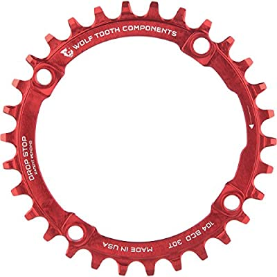Wolf Tooth Components Drop Stop Chainring Red, 32T/104 BCD