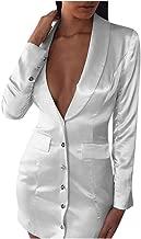 Women's British Double Breasted v-Neck Blazer Dress Slim Fit Office Dress Mini Long Trench Coat