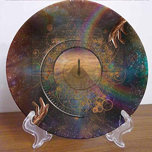 10' Magic Home Decor Ceramic Tableware Plate Double Exposure Outer Space Mixed With Earthly Symbolic Eternity Details Artsy Print Decor Accessory for Upscale Events, Dinner Parties, Weddings, Catering