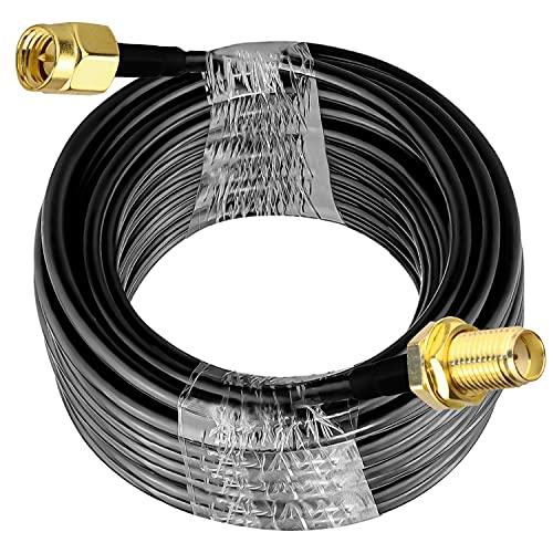 Cable de extensión SMA RG58 49.2Ft (15M) TUOLNK Cable coaxial SMA macho a SMA hembra 3G 4G LTE Antena WiFi LAN inalámbrica Cable coaxial RF de baja pérdida Radio CB RG58
