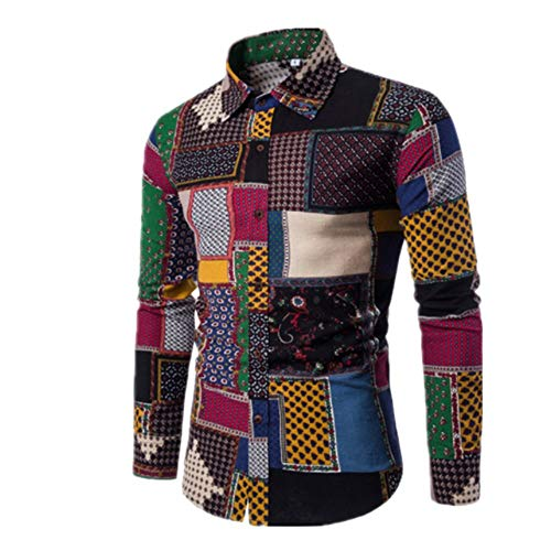 YJNH Herren Hemd Revers Langarm Patchwork Slim-Fit Button Hemd Frühling, Herbst und Winter neu Outdoor Mode Casual Daily Wear Streetwear XXL