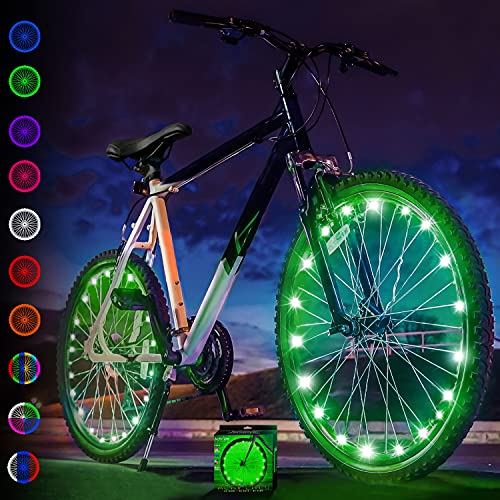 Activ Life Bicycle Tire Lights (2 Wheels, Green) Hot LED Bday Gift Ideas & Presents for Christmas - Popular Friday Black and Monday Cyber Special Sale for Him or Her - Men, Women, Kids & Fun Teens