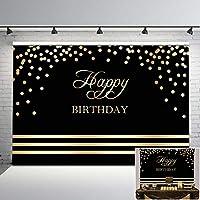 Mehofoto Happy Birthday 背景幕 ブラック&ゴールド 誕生日パーティー 写真背景 7x5フィート ゴールドドット ブラック 誕生日背景 あらゆる年齢の誕生日デコレーションに