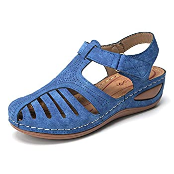 gracosy Summer Sandals for Women Comfort Beach Shoes Suede Leather Sandal Platform Wedge Shoes Gladiator Outdoor Ankle Strap Walking Sandal Blue 10