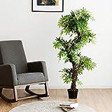COSTWAY Zimmerpflanze Deko, Kunstpflanze grün, Dekopflanze künstlich, Kunstbaum Pflanzendekoration Innendekoration für Zuhause Garten Büro (160x19x19cm) - 3