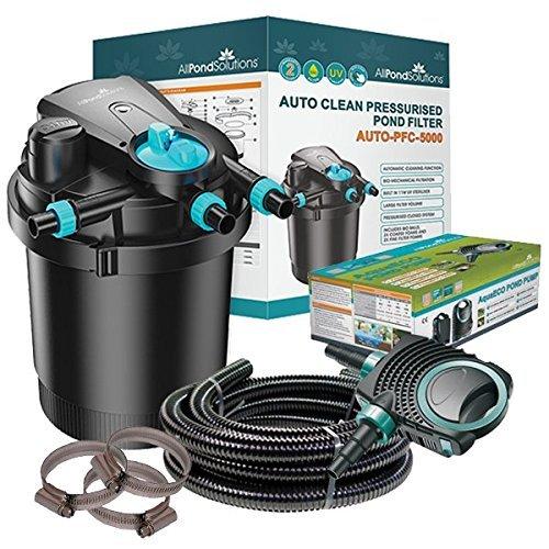 Auto Cleaning Pressurised Koi Pond Filter UV Steriliser All in One Kit...