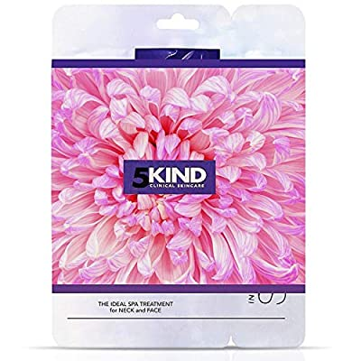 5Kind Anti-Ageing Collagen Face Mask Neck Sheet - Facial Treatment Deep Cleansing with Intensive Hydrating Serum Moisturise for All Skincare Types - Pack of 6 by 5kind Clinical Skincare