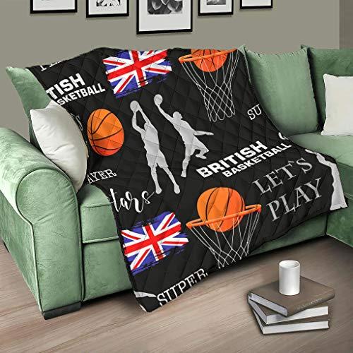 AXGM Quilt Bedspread Ball British Basketball Quilt Blanket Cuddly Blanket Design Travel Blanket White 150 x 200 cm