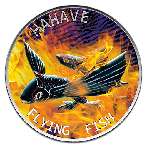 Power Coin Flying Fish Hahave Fried Color 1 Oz Moneda Plata 5$ Tokelau 2020