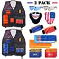 Hely Cancy Kids Tactical Vest Kit 2 Pack Complitable with Nerf N-Strike Elite for Boys, with Reload Clip Tactical Mask Wrist Band and Protective Glasses …