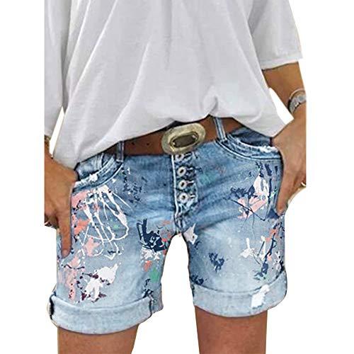 ORANDESIGNE Damen Jeansshorts Basic Waschung Jeans Bermuda-Shorts Kurze Hosen aus Denim für den Damen High Waist Denim Kurze Hose mit Quaste Ripped Loch Hotpants Shorts A Hellblau M