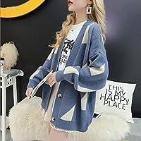 女性のセーターカーディガン固体フルスリーブの幾何ルースジョーカー初秋ニットジャケット yangain (Color : Blue, Size : One Size)