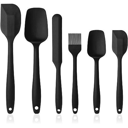 Vicloon Spatule de Silicone de Cusine Kit, Ustensiles en Silicone 6 Pack comme Ustensiles de Cuisine Antiadhésifs Include Cullière Spatule etc, pour Cuisine et Faire des Gâteaux(Noir)