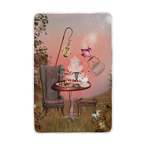 Couverture Lit, Forest Fairy doux Grande Jeté de polyester pour canapé Voyage Chambre à coucher Salon Adulte Fille Garçon Homme Femme 152,4 x 228,6 cm