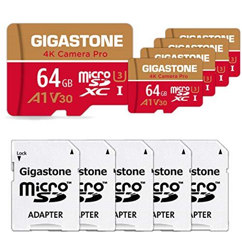 Gigastone Scheda di Memoria Micro SDXC da 64 GB 5 Pezzi, 4K Telecamera Pro Serie, A1 U3 V30, Velocità Fino a 95/35 MB/s. (R/W) con Adattatore SD. per Telefono, Videocamera, Tablet, Gopro, Switch