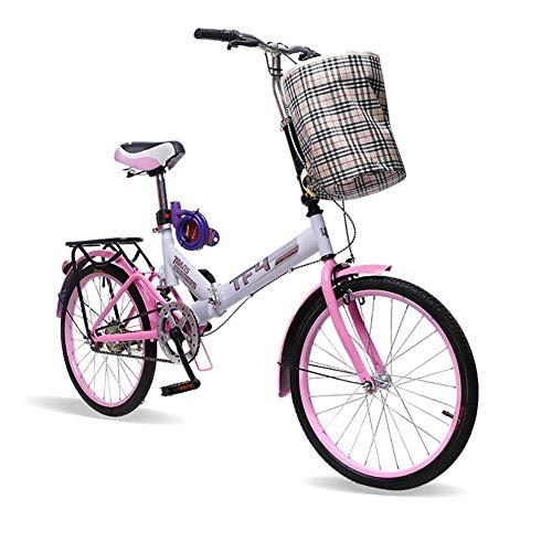 CHHD Bicicleta Plegable Bicicleta Plegable para Adultos Bicicleta de Fibra de Carbono de 20 Pulgadas Bicicleta de Ciudad Plegable Plegable, suspensión Bicicleta Plegable con Freno en V
