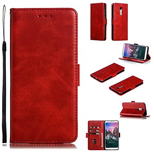 Cubierta protectora Cartera de teléfono para Xiaomi Redmi 5Plus, Vintage Premium PU Funda de billetera de cuero con soporte de la tarjeta de la correa de la muñeca de Kickstero TPU Tapa magnét