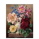 YSNMM Pintura Colorida De Peonía por Números Marco De Bricolaje Flores Imágenes De Pared Sala De Estar Arte De La Pared Regalo Decoración del Hogar