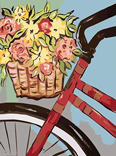 DIY Digitale Schilderen door cijfers Kits Bloemen in Fiets Mand Nieuwe Verf door Nummers op Canvas Gift voor Volwassenen en Kinderen Verjaardag Bruiloft Kerstdecoratie Decoraties