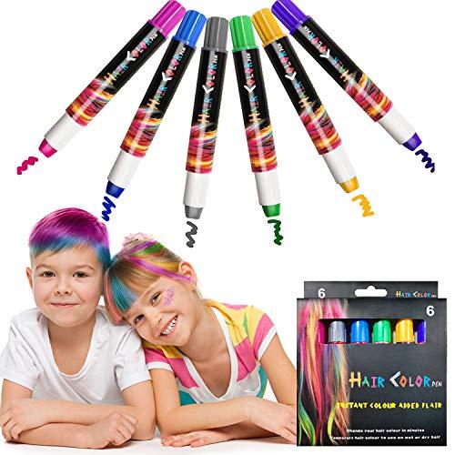 EBANKU 6 Farben Haarkreide, Haarfarben, Hair Chalk, Temporäre Haarfarbe, Non-Toxic Kinder Auswaschbar Haare Kreide Stifte für Geburtstag, Kindertag & Party Cosplay