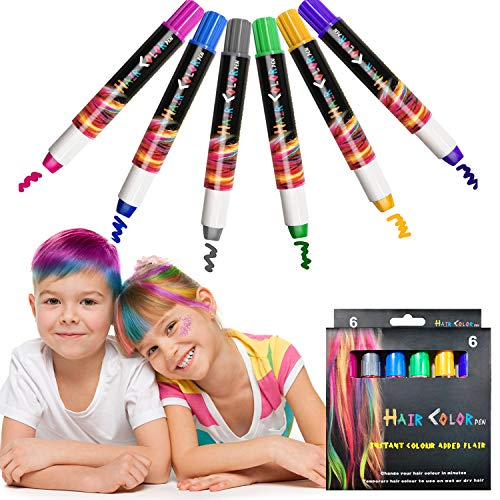 Kalolary 6 Color Temporary Hair Chalk Pens for Birthday Party, Hair Pens Crayon Salon Face Paints, Non-Toxic Washable Hair Color for girl Kids, Hair Dye for Masquerade Carnival Birthday Cosplay St. Patrick's Day