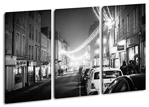 hellerleuchtete la Compra Calle Efecto: Negro/Blanco como Lienzo, diseño Enmarcado en Marco de Madera, impresión Digital Marco, no es un póster o Cartel, Dreiteilig (120x80)