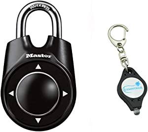 Master Lock 1500ID Padlock, Set Your Own Speed Dial Combination Lock, 2-1/8 in. Wide, Assorted Colors Bundle with Lumintrail Key Chain Light