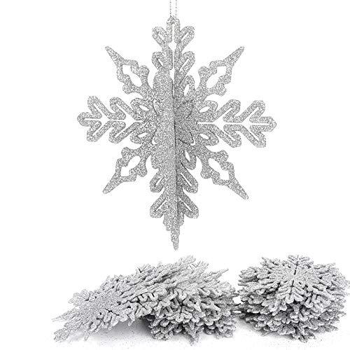 Aitsite 16 Stück 3D Glitzer Schneeflocke Ornamente, 4 Zoll Kunststoff hängendes Kunsthandwerk für Weihnachtshochzeitsfeier & Wohnaccessoires, Silber