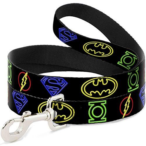 Buckle Down Justice League Hundeleine, elektrisches Logo, 1,2 m lang, 2,5 cm breit, Schwarz