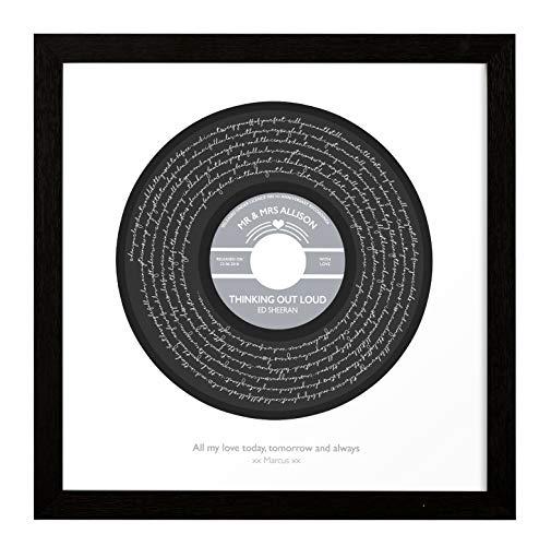 NOT JUST A PRINT Poster First Dance Songtext personalisierbar – Vinyl Schallplatten-Label Design – Rahmen optional, Ed Sheeran - Thinking Out Loud