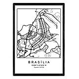 Nacnic Drucken Stadtplan Brasilia nordischen Stil schwarz