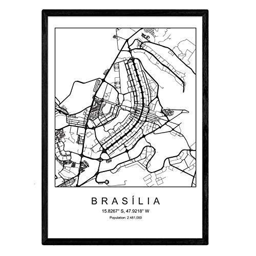 Nacnic Lámina Mapa de la Ciudad Brasilia Estilo nordico en Blanco y Negro. Poster tamaño A3 Sin Marco Impreso Papel 250 gr. Cuadros, láminas y Posters para Salon y Dormitorio