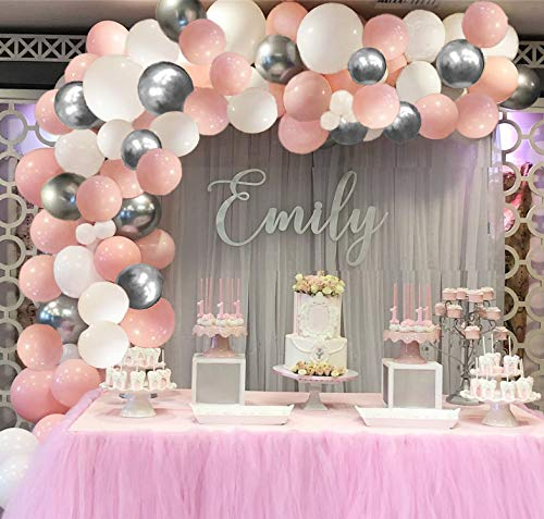 Balloon Garland Arch Kit for Party 16Ft Long 115pcs White and Pink Silver Latex Balloons Pack for Baby Shower Wedding Birthday Graduation Anniversary Bachelorette Party Backdrop Background Decorations (White-Pink)