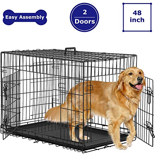 BMS Dog Crate Dog Kennel for Large Medium Dog Crate Folding Metal Dog Crate Indoor/Outdoor Double...