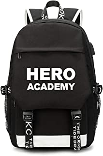 My Hero Academy USB School Anime Backpack, Travel Laptop Backpack Travel Canvas Daypack, Water Resistant for Teenage Girls Boys