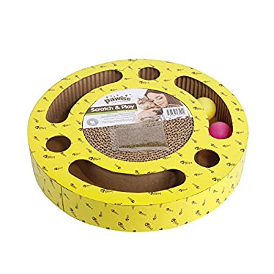 PAWISE Pets Cat Toys Interactive Scratching Board Cat Kitten Toys - Cat Scratcher Cardboard Scratching Pad, Activity Kitten Toys for Indoor Cats with Catnip and Balls(Round + Balls, 13 x 13)