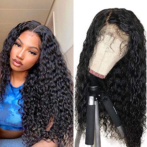 ESTEBON 180% Density Black Lace Front Wigs with Baby Hair Gluless Loose Curly Synthetic Wig for Black Women Natural Hairline Heat Resistant 22inches